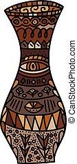 Vector brown Vase - Decorative doodle Pattern Design of...