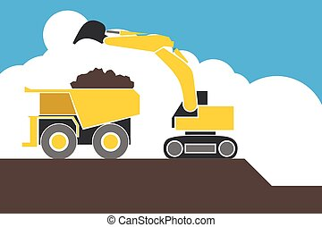industrial backhoe, bulldozer moving earth and sand in...