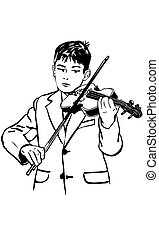 sketch boy is practicing the violin - black and white vector...