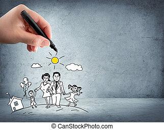 famille, soutien, -, assurance, concept,