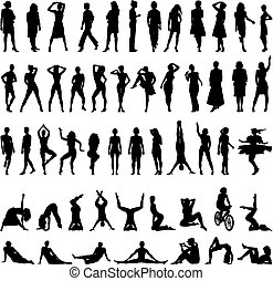 Women-vector silhouettes - Women Collection, black on white...