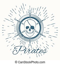 skull pirate and vintage sun burst frame, excellent vector...