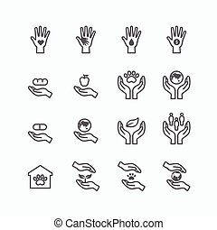 charity and donation silhouette icons flat line design...