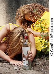 Teen alcohol addiction drunk teens with vodka bottle