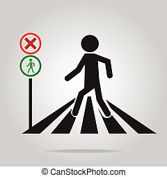 pedestrian crossing sign, school road sign illustration -...