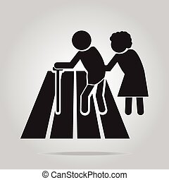 pedestrian crossing sign, elderly crossing road sign vector...