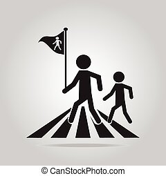 pedestrian crossing sign, school road sign vector...