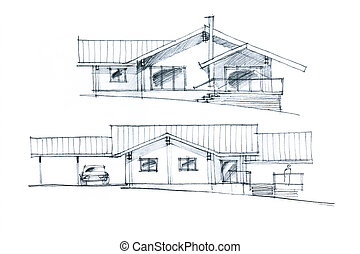 graphic sketch of a house arrangement - hand drawing of a...
