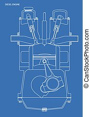 Diesel Engine Blueprint - A diesel engine blue print in...