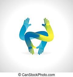 blue green hand team concept