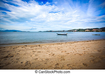 boats on the beach in Koh Samui Thailand