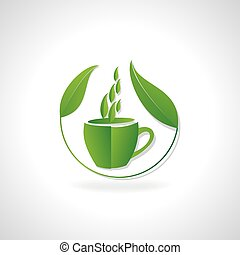green tea cup with leaf