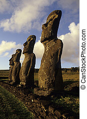 Moai- Easter Island, Chile - Moai statues at Ahu Akivi is an...