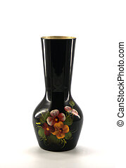 vase - black metal painted vase in Russian style
