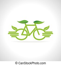 bicycle wheel like hand and green leaf vector