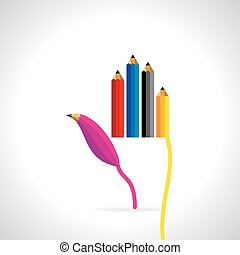 creative pencil with hand concept