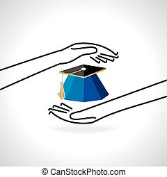 education cap care by hand - education cap care with hand...