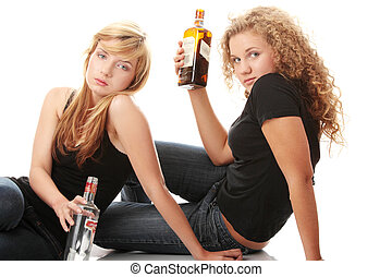 Teen alcohol addiction (drunk teens with vodka and whisky...