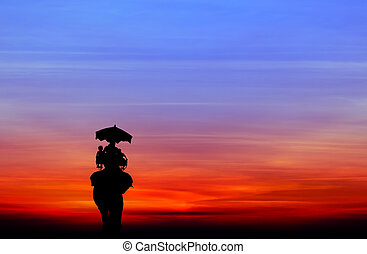 silhouette elephant with tourist at sunset