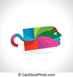 colorful tag with face vector illustration