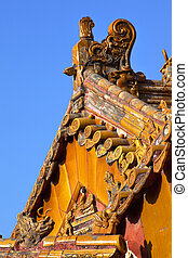 """Roof Figurines \""""Bitter End\"""" Yellow Roofs Gugong, Forbidden City Beijing China Roof Figures Decorations Emperor\'s Palace Built in the 1400s in the Ming Dynasty"""