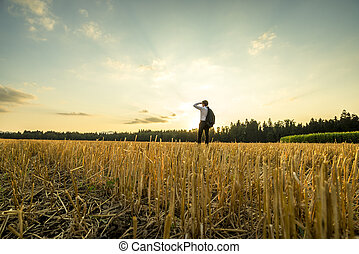 Businessman at the Field Looking Into the Distance