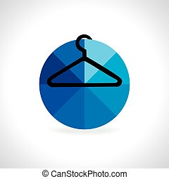 hanger inside of blue circle vector illustration