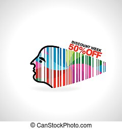 bar code concept - lady face created bar code vector...