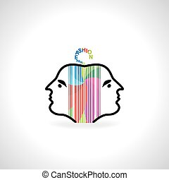 lady face with colorful tag vector illustration