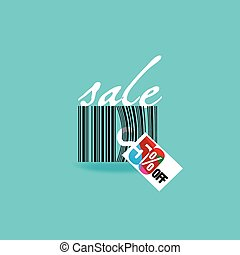 sale discount with bar code vector illustration