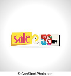 sale tag with colorful vector illustration