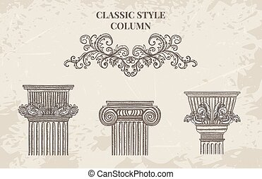 Antique and baroque classic style column vector set. Vintage...
