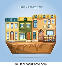 City houses facades. Flat design ur