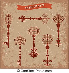 Set of antique keys. Vintage vector