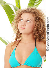 Teen girl in bikini - close up portrait