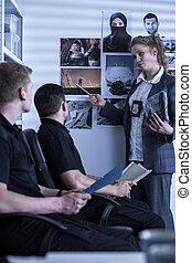 mujer policía, presentación, materials, ,