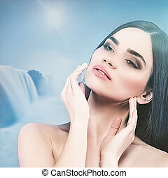 Beauty female portrait with natural backgrounds. SPA and massage concept