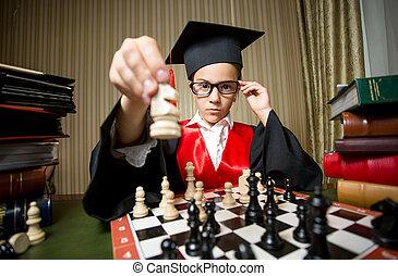 caballo, gorra, Movimiento, graduación, ajedrez,...