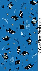Batman fun cartoon boy seamless pattern - Batman fun cartoon...