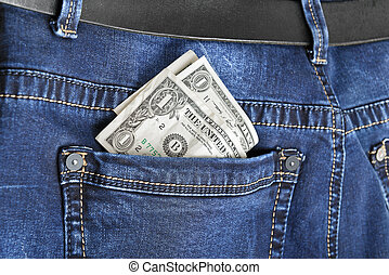 jeans with american  dollar
