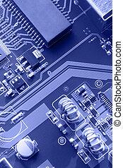 Blue Circuit Board Macro Patterns