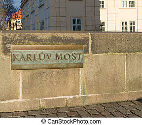 karluv most shield - brass shield on the famous charles...