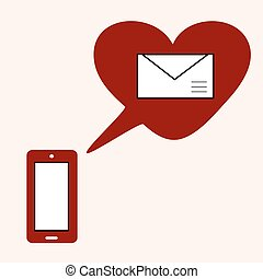 Love gadget and SMS with heart. Romantic social network...