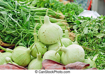 Heap of Bottle Gourd on market