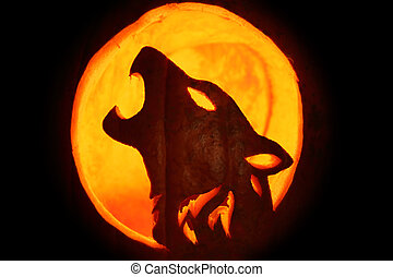Jack O Lantern - Silhouette of Halloween pumpkin carved into...