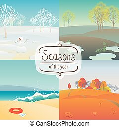 Four Seasons - Vector illustration set of of the four...