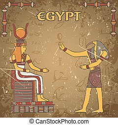 poster with egyptian god