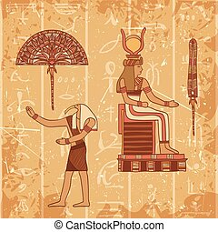 poster set with egyptian god