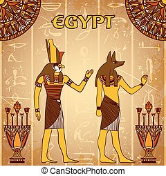 Vintage poster with egyptian gods