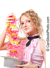 Magic with hat and flowers - Blond beautiful woman magician...